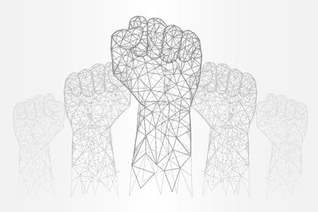 Raised hands vector polygonal art style illustration