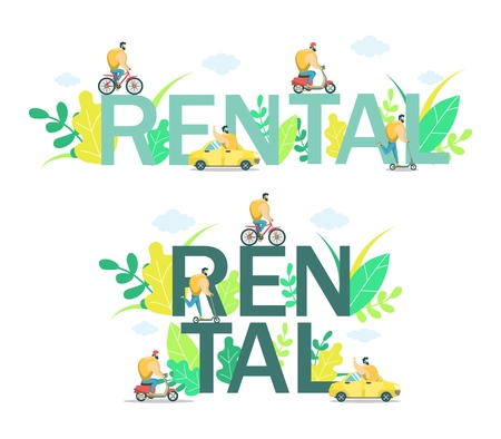 Rental word in capital letters with men riding electric scooter, bicycle, push scooter and driving car. Vector flar style design illustration. City transport for rent concept.