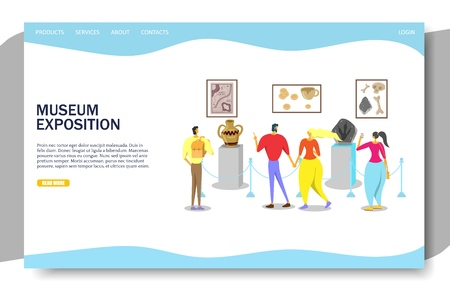 Museum exposition vector website landing page design template Illusztráció