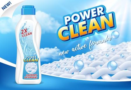Ilustración 3d de vector de anuncio de detergente líquido para ropa. Detergente para ropa en botella de plástico realista con cartel de promoción de etiqueta.