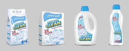 Paquete de detergente para ropa con juego de maquetas de etiquetas. Ilustración aislada realista 3d del vector. Bolsa de plástico para detergente en polvo, caja de cartón y botellas de plástico para detergente líquido para ropa. Ilustración de vector