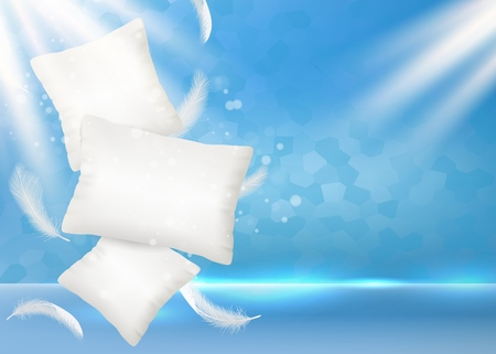 Pillow ad vector poster banner design template. Soft and comfortable realistic white pillows with light feathers on blue background. Vectores