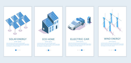 Vector set of mobile app onboarding screens. Solar panels, wind turbines, green eco house and electric car isometric icons. Green innovations, alternative energy sources web templates, banners.