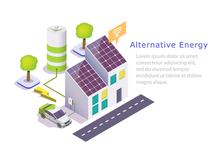 Alternative energy vector web banner template. Isometric green eco friendly house with solar panels, electric car. Renewable solar energy and battery storage system concept. 向量圖像