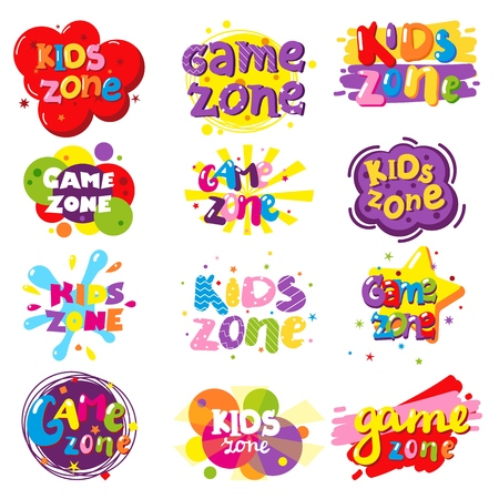 Kids zone banner set, vector isolated illustration
