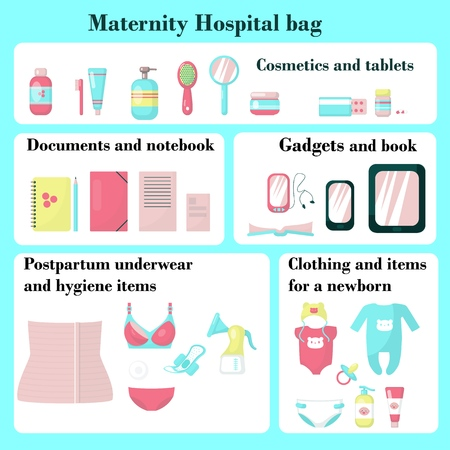 Maternity hospital bag checklist, vector flat illustration isolated on white background. Bag for labour and birth, all necessary items after delivery for mum.