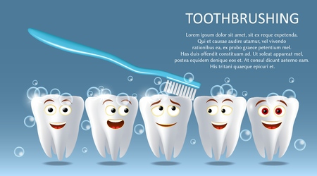 Tooth cleaning concept vector poster banner template