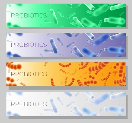 Probiotics vector horizontal web banner template set with good or friendly bacteria and microorganisms for humans. Probiotic strains of bacteria for improving and restoring the gut flora.
