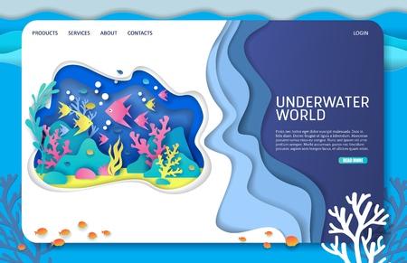 Plantilla de diseño de página de destino de sitio web de vector de mundo submarino