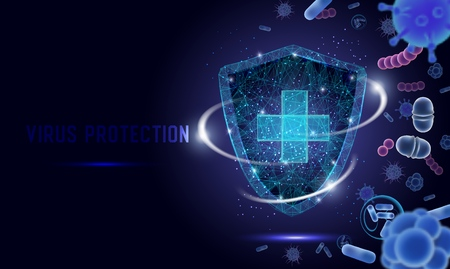 Virus protection vector web banner, website page template. Polygonal art style medical shield with cross protecting from bacteria and microbes. Virology, microbiology and medicine.