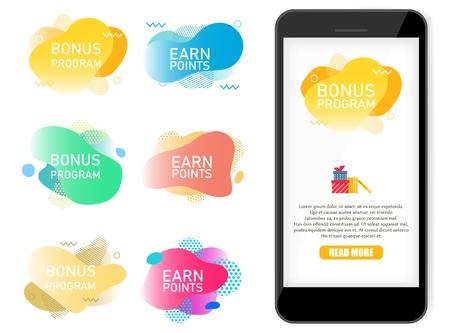 Bonus program, earn points label banner vector set