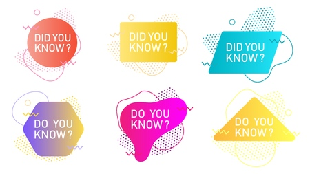 Did you know label set, vector isolated illustration