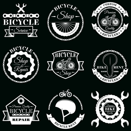 Vector set of bicycle service badges labels logo