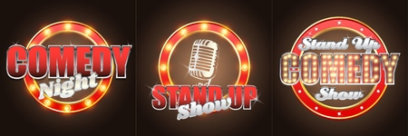 Vector set of stand up comedy show retro banners labels 矢量图像