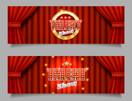 Talent show vector horizontal banner template set  イラスト・ベクター素材