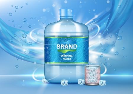 Annonce eau potable. Illustration vectorielle réaliste d'une grande bouteille en plastique et d'un verre d'eau pure et propre, de bulles, de glaçons, d'eau qui coule. Modèle d'affiche publicitaire de marque.