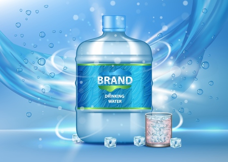 Drinking water ad. Vector realistic illustration of big plastic bottle and glass of pure clean water, bubbles, ice cubes, water pouring. Brand advertising poster template.
