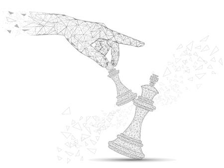 Mano umana che tiene il pedone che abbatte il pezzo degli scacchi del re maglia wireframe low poly fatta di punti, linee e forme. Illustrazione di stile di arte poligonale di vettore. Concetto di sfida per banner poster.