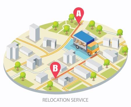 Concept de vecteur de service de relocalisation pour bannière Web, page de site Web Vecteurs
