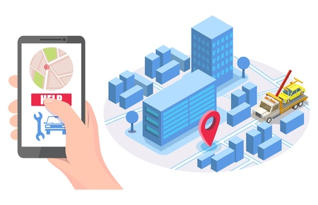 Hand holding smartphone with map, help button, isometric city road, tow truck evacuator with auto, vector illustration. Online roadside assistance, car towing service mobile app concept for web banner