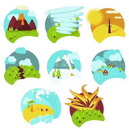 Conjunto de iconos de catástrofes naturales, ilustración vectorial plana aislada