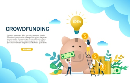 Modèle de conception de bannière web concept de financement participatif vecteur Vecteurs