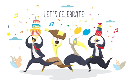 Party celebration concept for web banner, website page