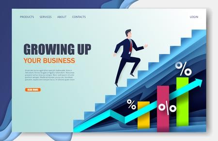 Growing company vector website landing page design template