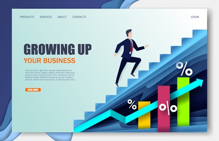 Growing company vector website landing page design template