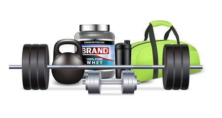 Fitness gym equipment and sport nutrition, vector realistic illustration Illustration