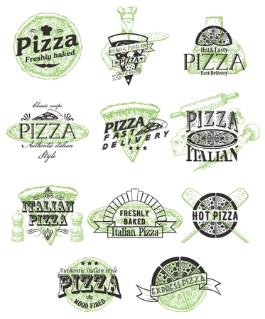 Vector set of vintage pizza badges labels logos Stock Illustratie