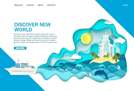 Discover new world vector website landing page design template