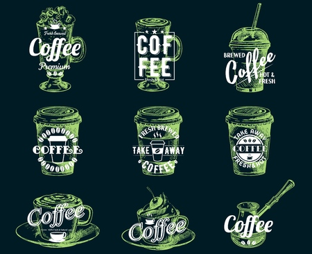 Vector set of vintage coffee badges labels logos