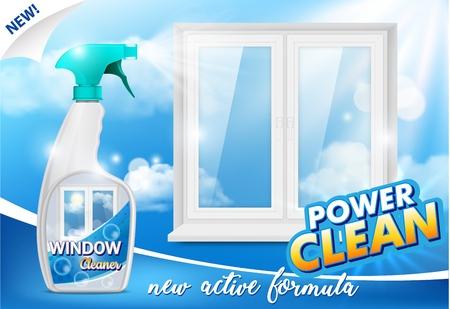 Affiche publicitaire de nettoyant pour vitres, illustration vectorielle réaliste