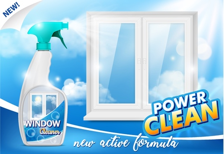 Window cleaner advertising poster, vector realistic illustration Illustration