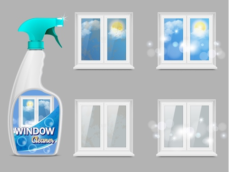 Window cleaning detergent, vector 3d realistic illustration