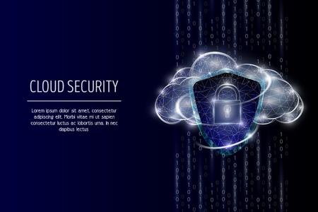 Cloud security, vector polygonal art style illustration