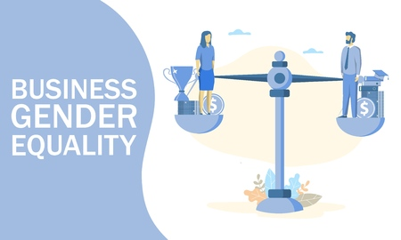 Vector illustration of businessman and businesswoman balancing on scales on the same height. Business gender equality, justice, equal work, opportunities and wage concept for web banner, website page. Stockfoto - 122519006