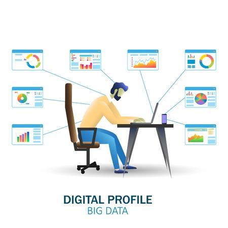 Big data technology vector concept web banner, website page Illustration