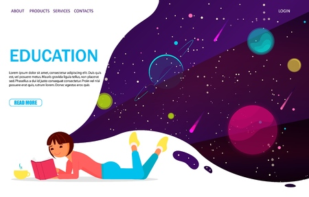 Education vector website landing page design template