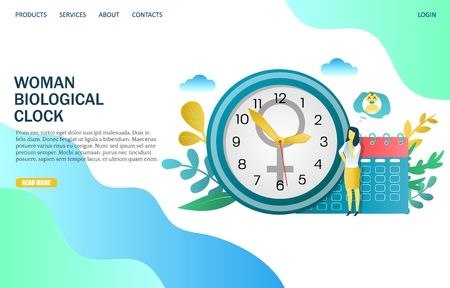 Woman biological clock vector website template, web page and landing page design for website and mobile site development. Menopause, women climacteric concept.
