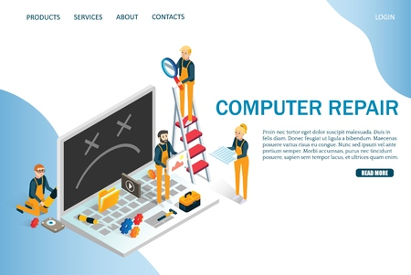 Computer repair vector website template, web page and landing page design for website and mobile site development. Maintenance, computer recovery and technical support services.