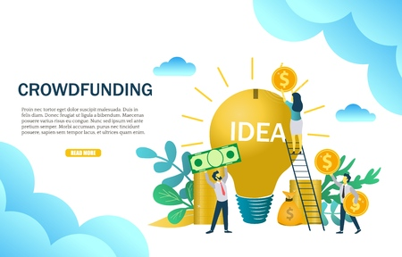 Crowdfunding web banner template. Vector illustration of business people putting money into light bulb. Financial investment in business startup, new ideas concept for website page etc. Illustration