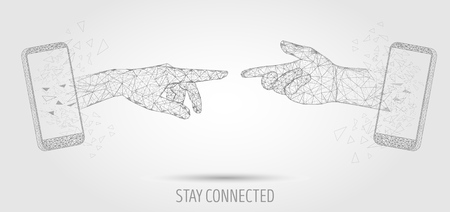 Stay connected vector poster banner design template. Mobile phone two human hands touching, low poly wireframe mesh. Mobile network, stay in touch concept polygonal art style illustration.