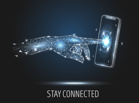 Stay connected vector poster banner design template. Human hand touching mobile phone screen, low poly wireframe mesh. Mobile communication technology polygonal art style illustration.