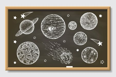 Planetas blancos en pizarra negra, vector ilustración dibujada a mano Ilustración de vector