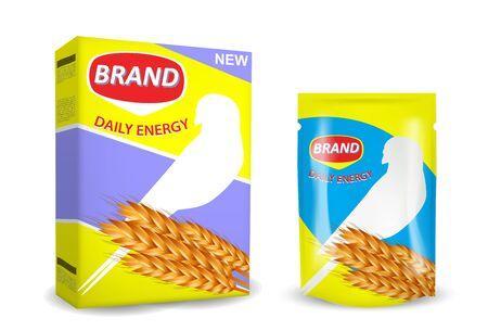 Bird food package mockup set, vector isolated illustration