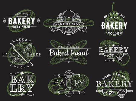 Vector set of vintage bakery emblems, logos, badges and labels