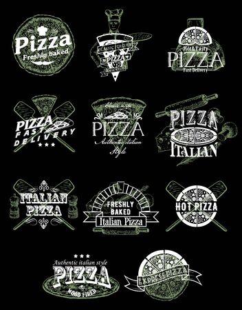Vector set of vintage pizza emblems, logos, badges and labels Ilustração