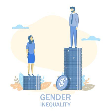 Geschlechterungleichheit, flache Designillustration des Vektors